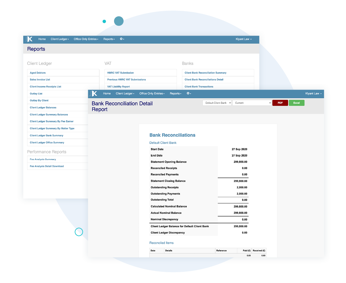 Our Reconciliation reports ensure you can review your work with ease